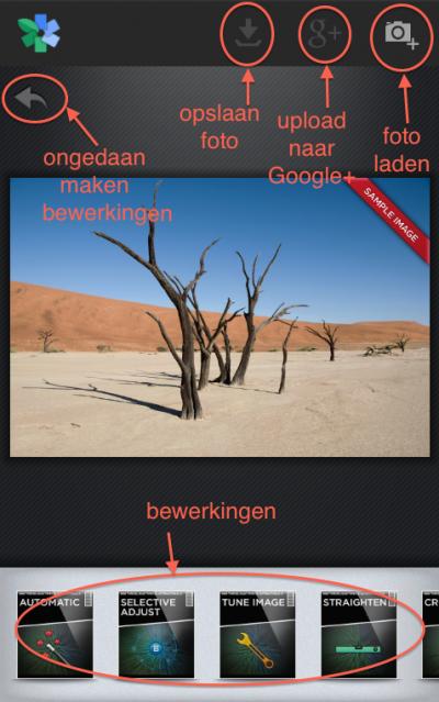 Snapseed app startscherm Android
