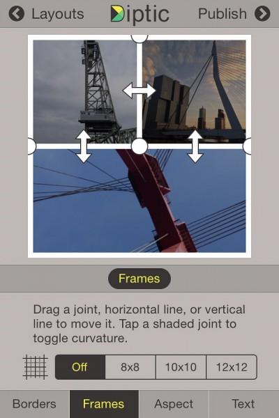 Diptic - aanpassen - lijnen collage (IOS)