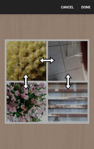 Diptic - aanpassen - lijnen collage (Android)