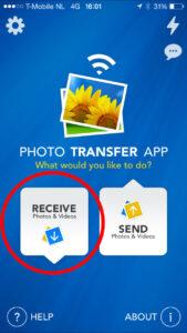 Het openingsscherm van de Photo Transfer App op MobieleFotografie