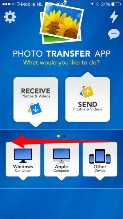 De apparaten die je kan benaderen vanuit dePhoto Transfer App