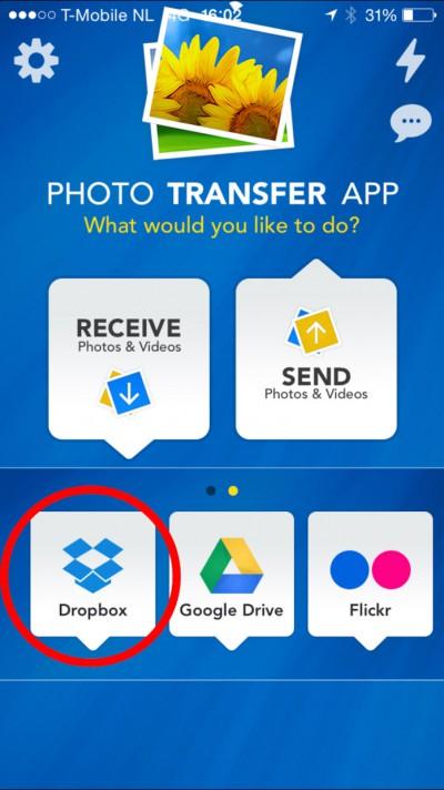 de Dropbox plug-in in de Photo Transfer App