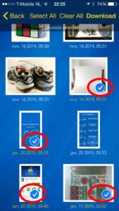 Kiezen van foto's in Dropbox in de Photo Transfer App