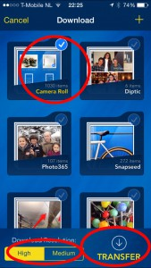 Tranfer scherm van de Photo Transfer App