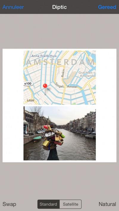 Diptic - De foto en de kaart omgewisseld.