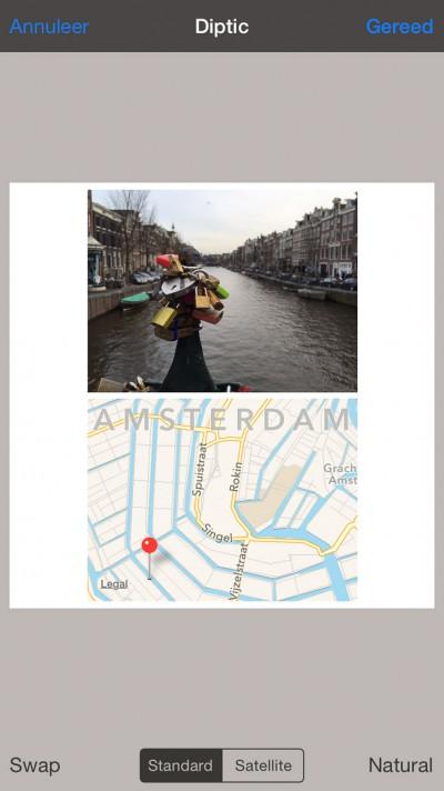 Diptic - Ingezoomed op de kaart van Amsterdam.
