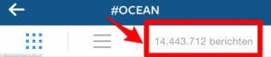 De tag #ocean is erg populair op Instagram met bijna 15 miljoen tags!