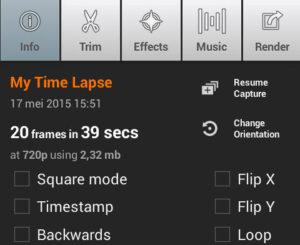 Het render-scherm van Lapse-It.