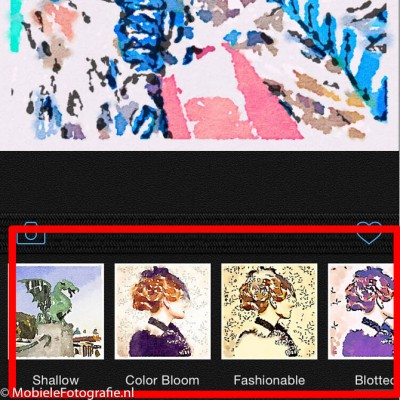 De verschillende waterverf-stijlen in de Waterlogue app.