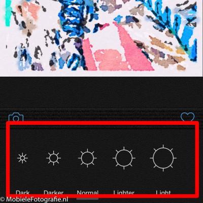 De belichting instellen in de Waterlogue app.