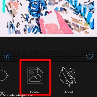 Aan of uit zetten van de rand om je aquarel in de Waterlogue app.