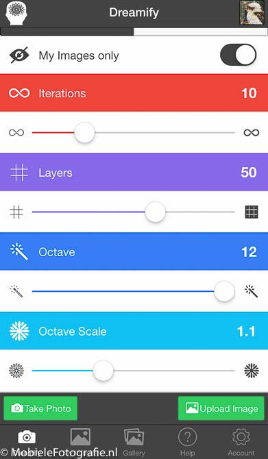 De tab 'Customize' van het beginscherm van Dreamify app.