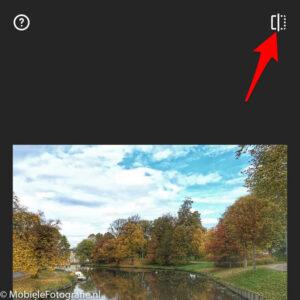 De voor/na-knop in Snapseed