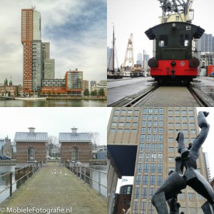 Layout collage van een aantal foto's van Rotterdam.