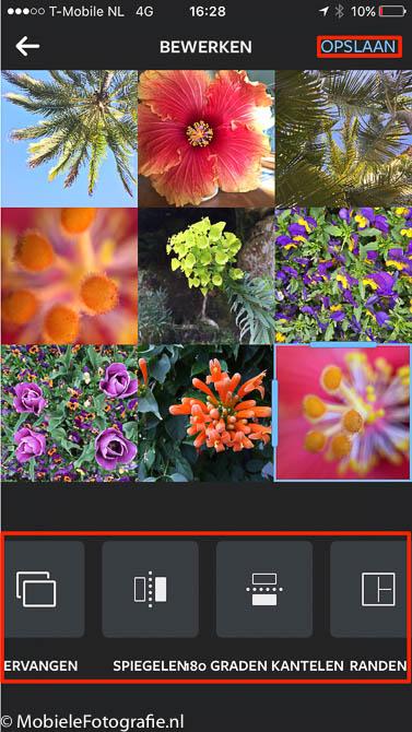 Onderin het collage scherm van layout staan de knoppen om de foto te vervangen, spiegelen of kantelen.