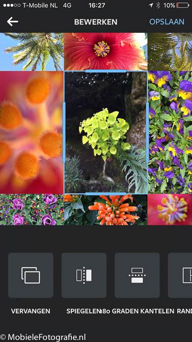 Groter gemaakte foto door het verschuiven van de randen in de layout app.