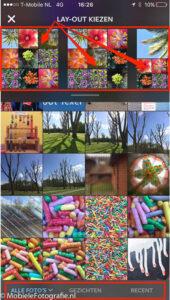 Als je foto's selecteert worden er tegelijkertijd collages van je foto's gemaakt.
