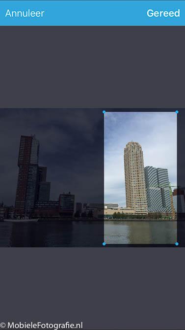 Selectie van het deel van de foto (bijsnij-symbool) dat moet worden omgezet in een planeetje.
