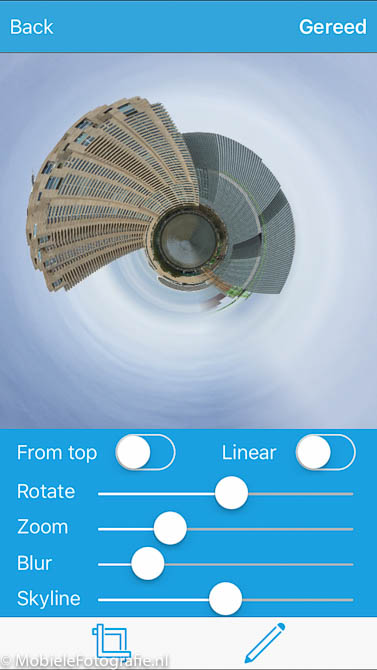 Het planeetje na het selecteren van een deel van de oorspronkelijke foto in de Planetical app..