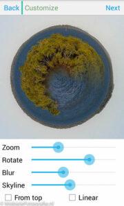 Roteer je planeetje zodanig in de planetical app dat de 'begroeide' kant bovenop ligt.