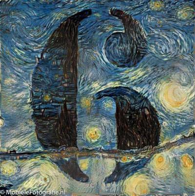 De foto van Het cijfer 6 omgezet in een schilderij van Van Gogh - in de Pikazo app.