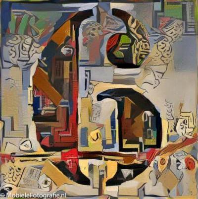 De foto van het cijfer 6 omgezet in een schilderij van Kadinsky - in de Pikazo app.