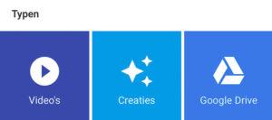 De categorie 'typen' onderin het zoekscherm van GOogle Foto's.