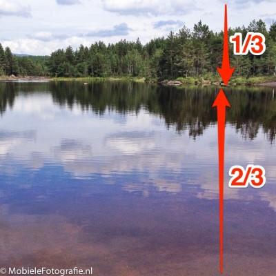 De originele foto van een Noors meertje: 1/3 landschap en 2/3 spiegeling. iPhone 4s