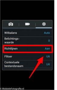Android telefoon (Samsung): hulplijnen (richtlijnen) aan of uit.