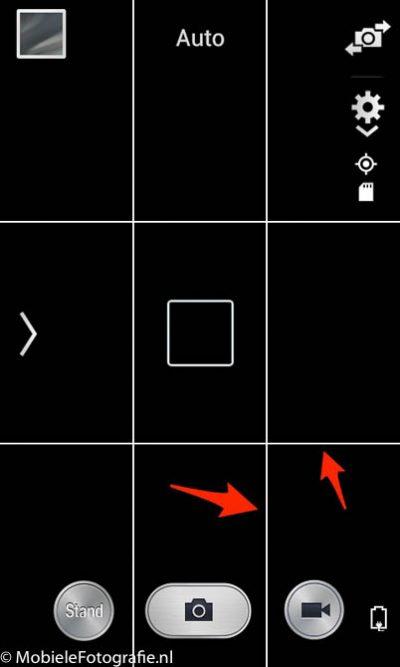De standaard Android camera app met hulplijnen.