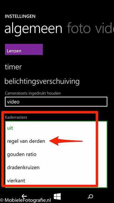 Windows Lumia Phone: meerdere soorten kaderrasters.