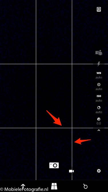 De standaard Windows Lumia camera app met hulplijnen.