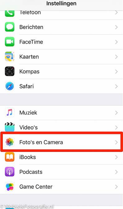 iPhone (IOS): Foto's en Camera in instellingen.