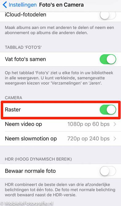 iPhone (IOS): Raster aan of uit zetten.