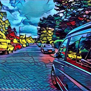 Een gewone straat wordt in een paar stappen een kunstwerk met de prisma app.
