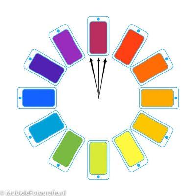 Monochromatische kleuren op de kleurencirkel.