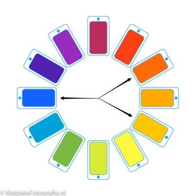 Gesplitste complementaire kleuren op het kleurenwiel.
