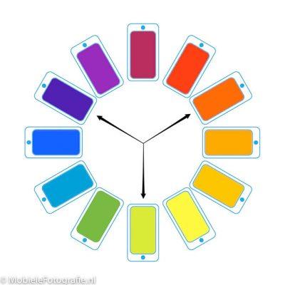 Triadische kleuren op het kleurenwiel.
