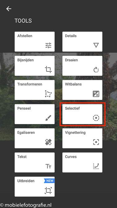 Bij 'Selectief' kan je in Snapseed de textuur (structuur) lokaal versterken.