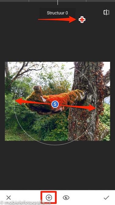 Selecteer het deel van je foto waarvan je de textuur (structuur, S) wil verhogen.