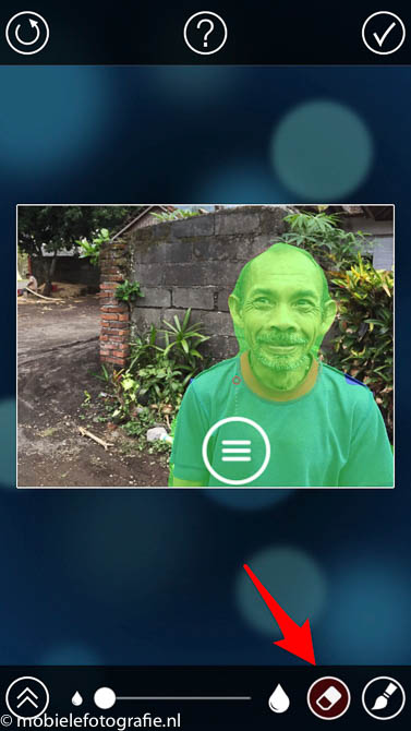 Gebruik de gum om groen te wissen (onscherpte) in de fabfocus app (c) mobielefotografie
