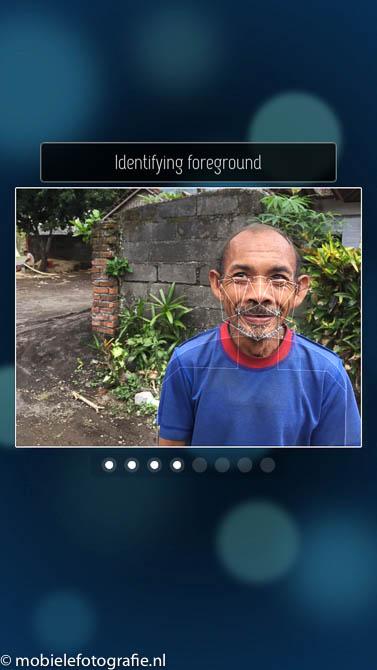 Analyse van de voor- en achtergrond in de foto. In de FabFocus app.