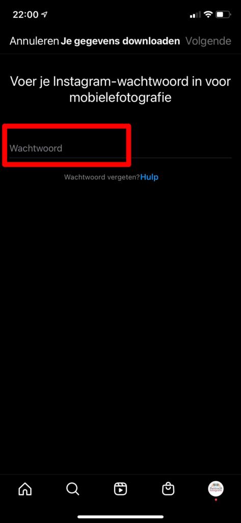 Vul je wachtwoord in in de Instagram app