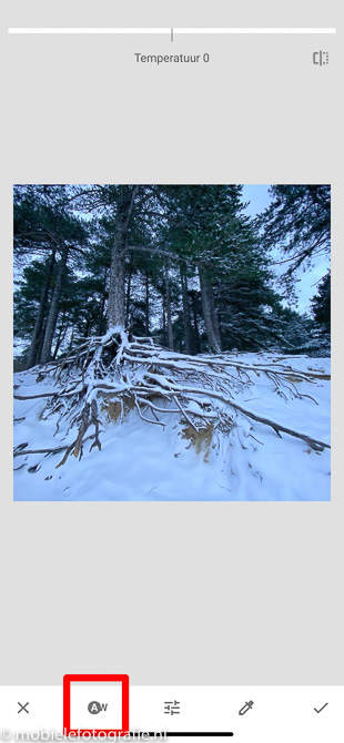 Blauwe sneeuwfoto geopend in Snapseed met je mobiele telefoon