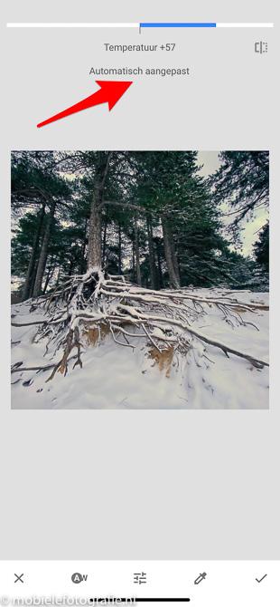 Witbalans is automatisch aangepast in Snapseed